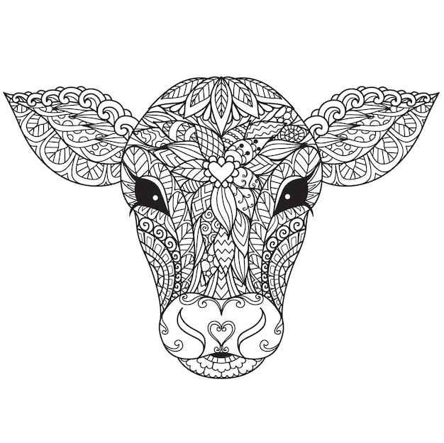 Mandala de tête de veau ou de vache pour livre de coloriage pour adultes, page de coloriage, impression sur produit, découpe laser, papier découpé, etc. illustration vectorielle.