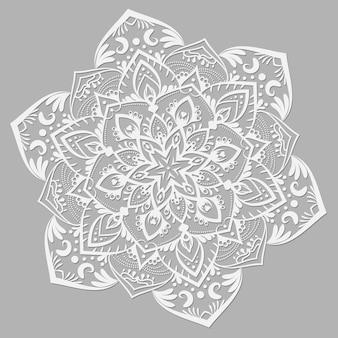 Mandala de vecteur blanc sur fond gris