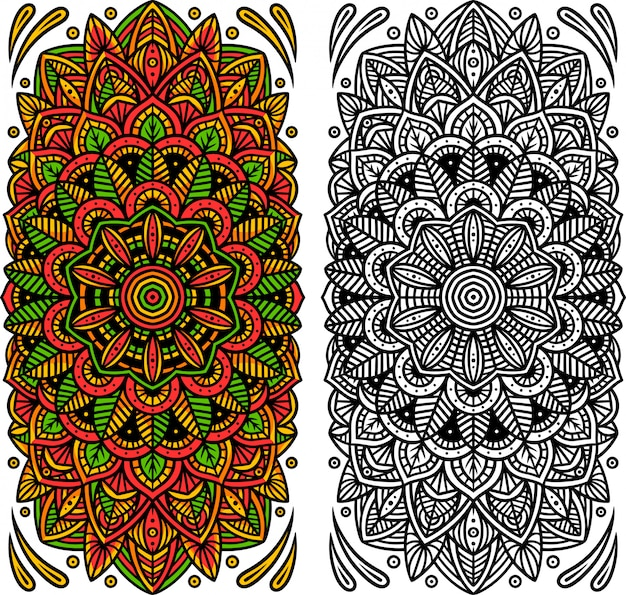 Mandalas colorés et noirs et blancs