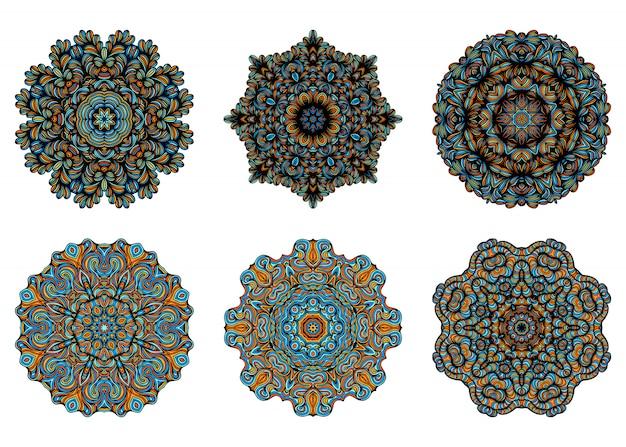 Mandalas. éléments décoratifs vintage avec motif oriental. modèle de yoga. islam, culture arabe turque indienne et pakistanaise. illustration.