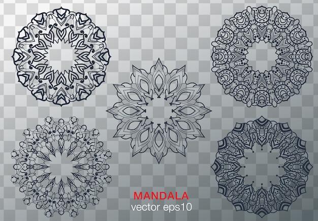 Mandalas pour cahier de coloriage. ornements ronds décoratifs