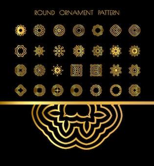 Mandalas ronds vintage dorés sur fond noir