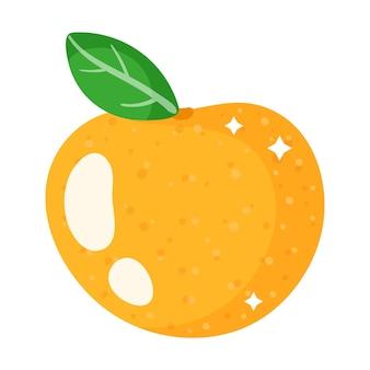 Mandarine orange festive de dessin animé de noël. joyeux noël et bonne année concept.