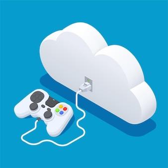 Manette de jeu isométrique avec nuage
