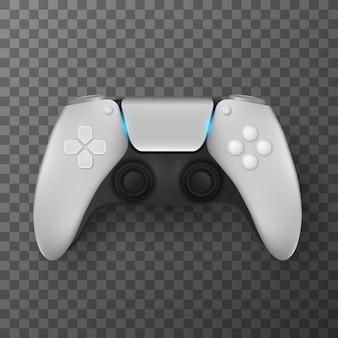 Manette de jeu moderne pour jeux vidéo isolée sur fond transparent. joystick réaliste pour console de jeu avec rétro-éclairage. jeux d'ordinateur. illustration vectorielle. eps 10.