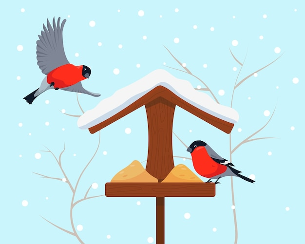 Mangeoire à oiseaux et deux bouvreuils en hiver oiseaux dans la neige par temps froid