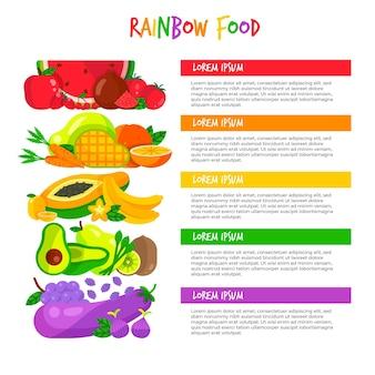 Manger un concept infographique arc-en-ciel