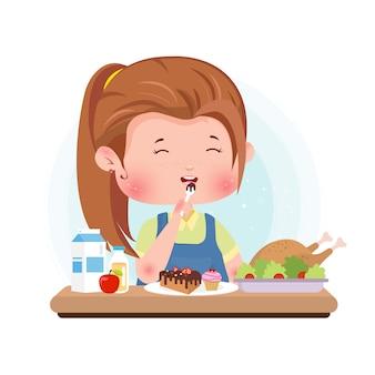 Manger dessert illustration caractère mignon concept manger des aliments sains