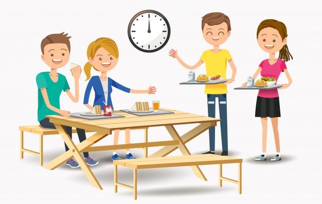 Manger avec de nouveaux amis au café