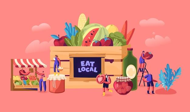 Mangez le concept local. illustration plate de dessin animé
