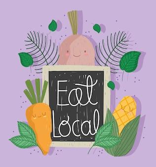 Mangez le conseil local, dessin animé légumes carotte maïs et illustration vectorielle d'oignon