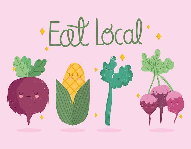 Mangez du texte manuscrit local, les légumes de dessin animé incluent le céleri et le radis de maïs de betterave