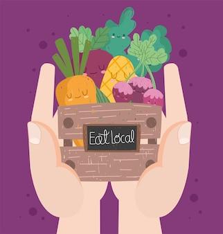 Mangez des légumes de dessins animés locaux