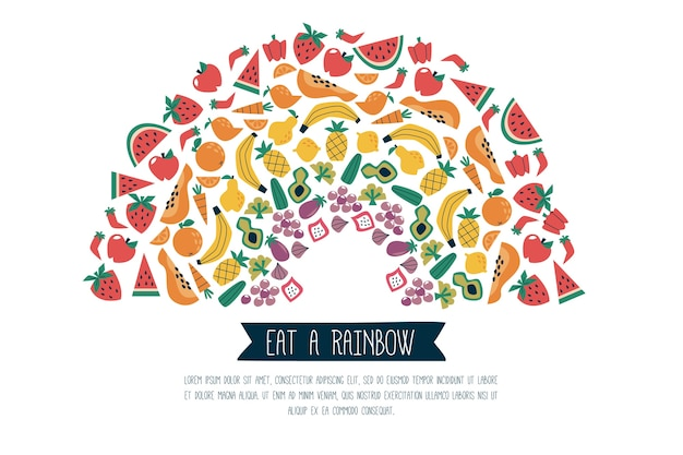 Mangez un régime infographique arc-en-ciel