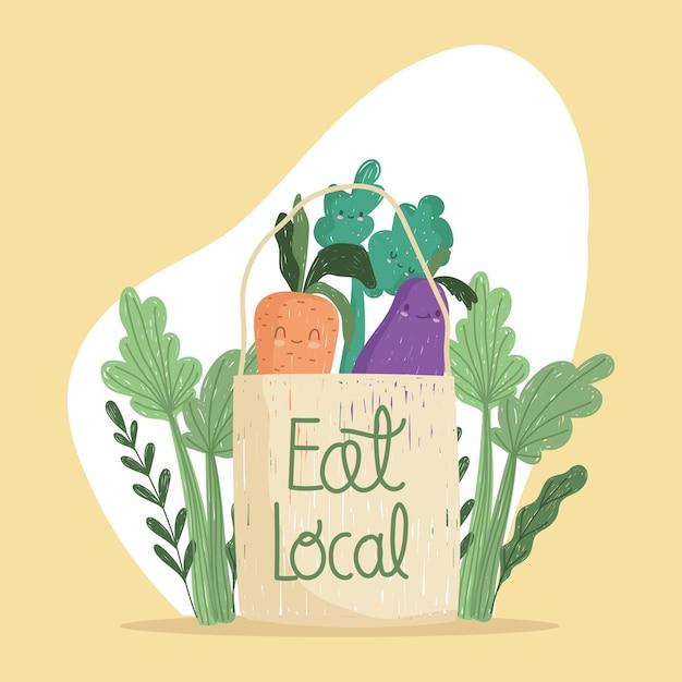 Mangez un sac local avec de la nourriture