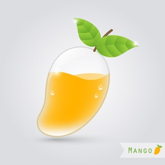 Mango verre de jus de mangue à l'intérieur