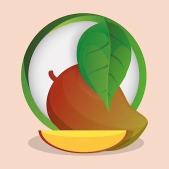 Mangue avec feuilles insigne naturel