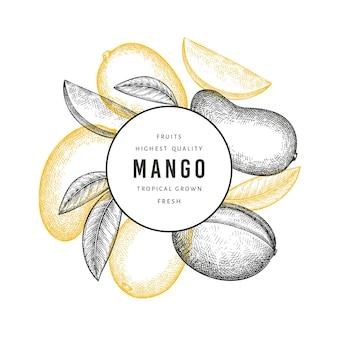 Mangue de style croquis dessinés à la main. illustration de fruits frais.