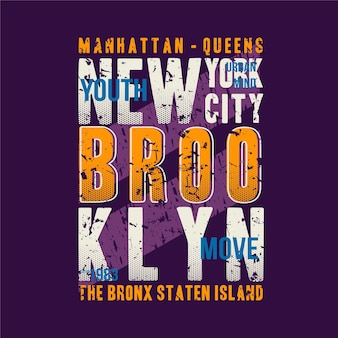 Manhattan, brooklyn, new york city lettrage graphique t-shirt typographie conception abstraite