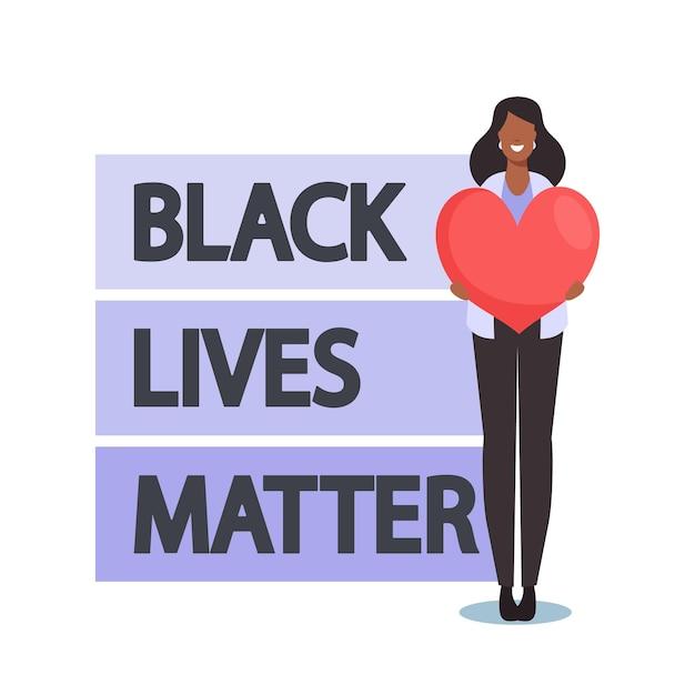 Manifestant antiraciste, personnage africain avec cœur près de black lives matter signe protestation contre la discrimination raciale