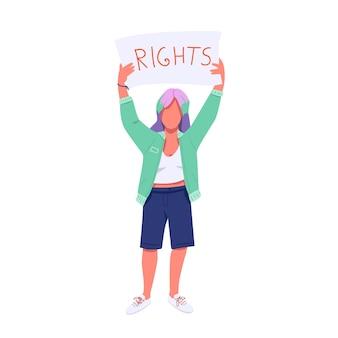 Manifestant féminin avec caractère sans visage de couleur plate plaque. droits des femmes et protestation contre l'égalité. jeune féministe tenant bannière illustration de dessin animé isolé pour la conception graphique et l'animation web