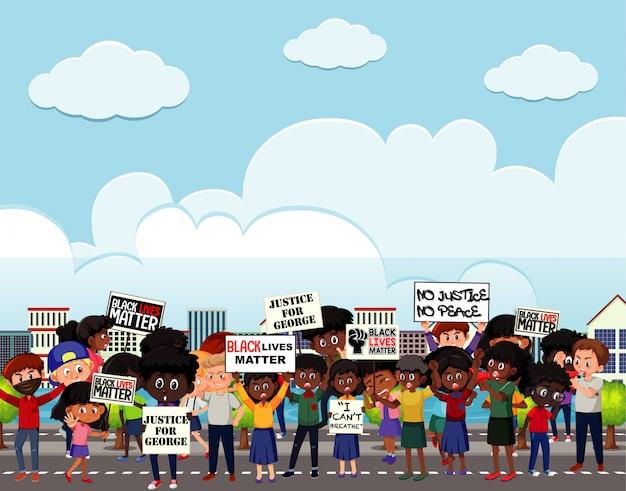Des manifestants contre le racisme dans la rue