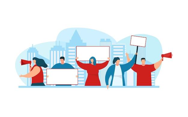 Les manifestants tiennent une pancarte, une bannière blanche, une illustration vectorielle. activiste homme femme caractère protester ensemble, démonstration avec affiche signe