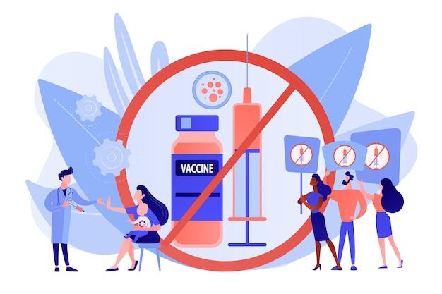 Manifestation anti-vaccination, les gens rejettent la médecine préventive. refus de vaccin, vaccination obligatoire, concept d'hésitation à la vaccination. illustration isolée de vecteur bleu corail rose