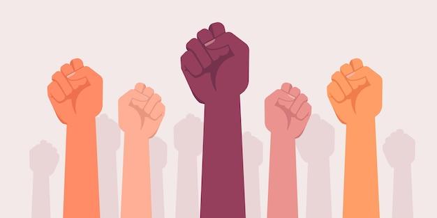 Les manifestations du poing donnent le pouvoir à la révolution contre les rebelles