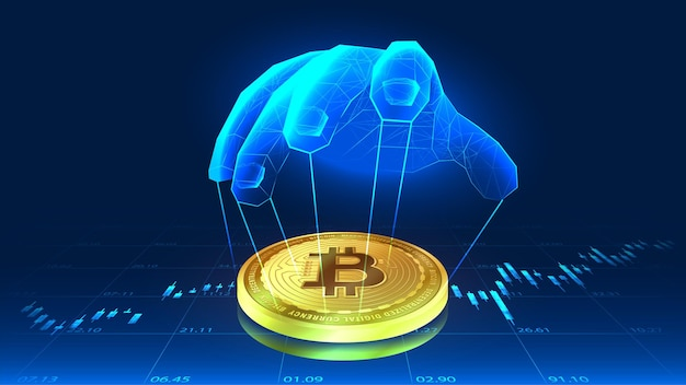 La manipulation du bitcoin par la main de quelqu'un dans un concept futuriste avec fond de tendances
