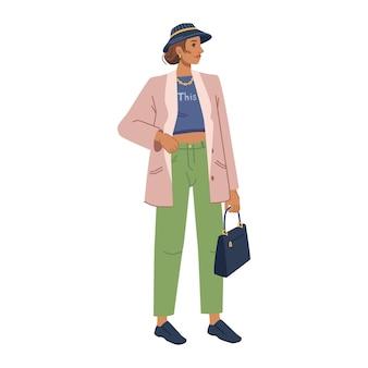 Mannequin femme en vêtements d'extérieur élégants collection printemps automne isolé personnage de dessin animé plat