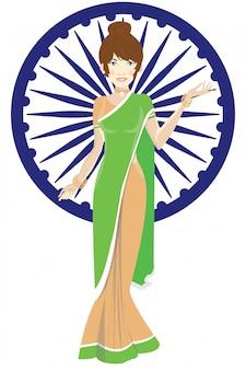 Mannequin indien avec drapeau inde