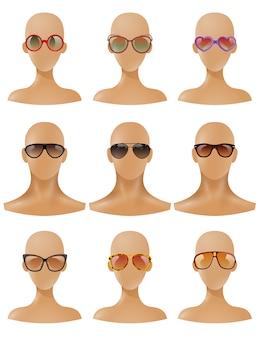 Mannequins heads display sunglasses set réaliste