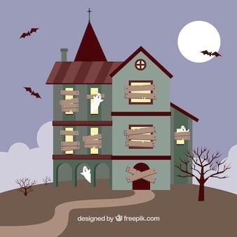 Manoir d'halloween avec des fantômes