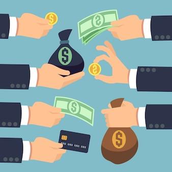 Mans main tenant en espèces, pièces de monnaie, billets de banque et carte de crédit isolé. payer et gagner des icônes vectorielles ensemble. money finance acheter et paiement, dollar en espèces et illustration de sac d'argent