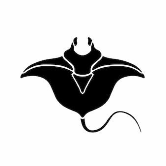 Manta ray logo symbole conception pochoir tatouage illustration vectorielle