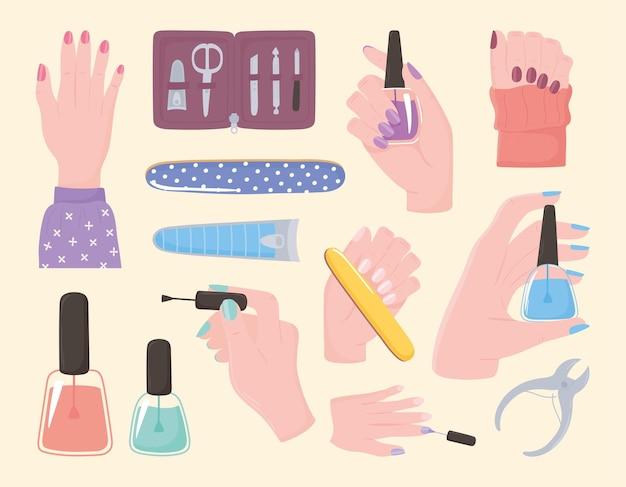 Manucure, set d'icônes mains vernis à ongles cutter file kit outils et accessoires illustration