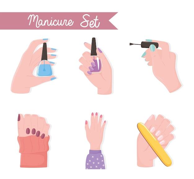 Manucure set mains féminines avec lime de vernis à ongles et illustration de couleur de brosse