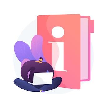 Manuel d'instructions. homme intelligent avec ordinateur portable étudiant le manuel, lisant le personnage de dessin animé de guide. utilisez des termes, un guide didactique, de la documentation numérique.