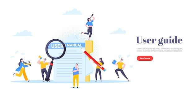 Manuel de l'utilisateur guide livre style plat design illustration vectorielle
