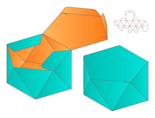 Maquette 3d de conception de modèle de découpe d'emballage de boîte