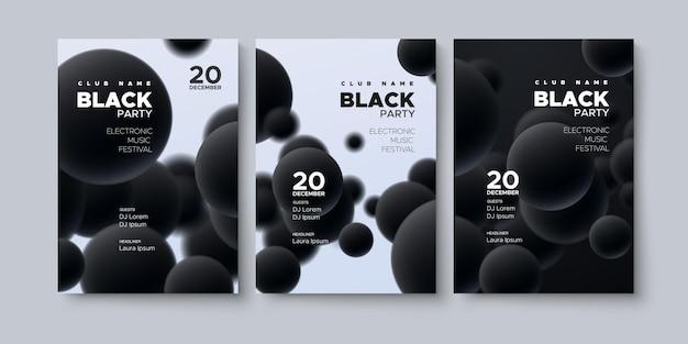 Maquette d'affiche de fête noire