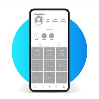 Maquette de l'application d'interface instagram.