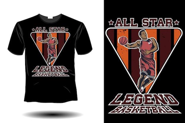 Maquette de basket-ball de légende all star design rétro vintage