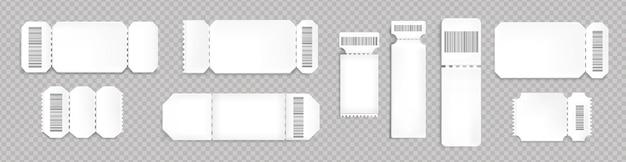Maquette de billets vierges avec code à barres et ligne pointillée. modèles vides pour l'embarquement de concert, de cinéma et de transport. coupons de loterie blanc isolés sur fond transparent, jeu de vecteur 3d réaliste