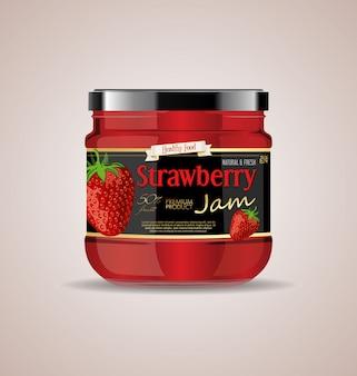 Maquette de bocal en verre strawberry jam package design