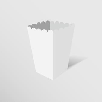 Maquette de boîte de maïs soufflé isolé sur fond blanc.