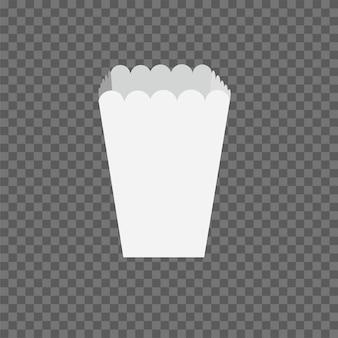 Maquette de boîte de pop-corn isolée sur fond transparent.