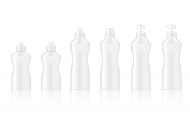 Maquette d'une bouteille blanche réaliste pour le lavage de vaisselle et les cosmétiques