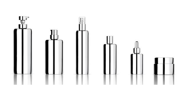 Maquette bouteille cosmétique métallisée réaliste